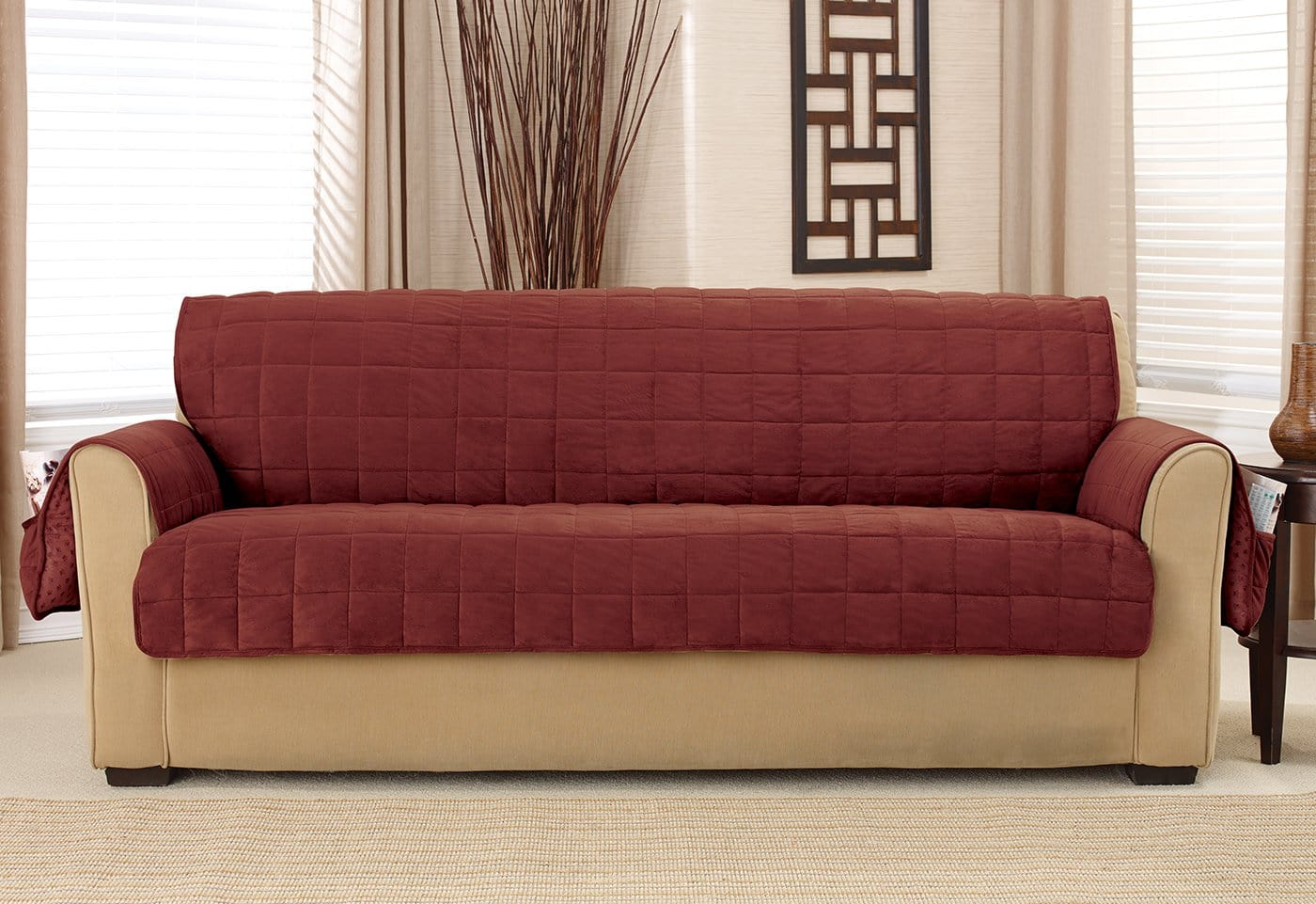 Deep Pile Velvet Furniture Sofa Covers - Sofa / Burgundy