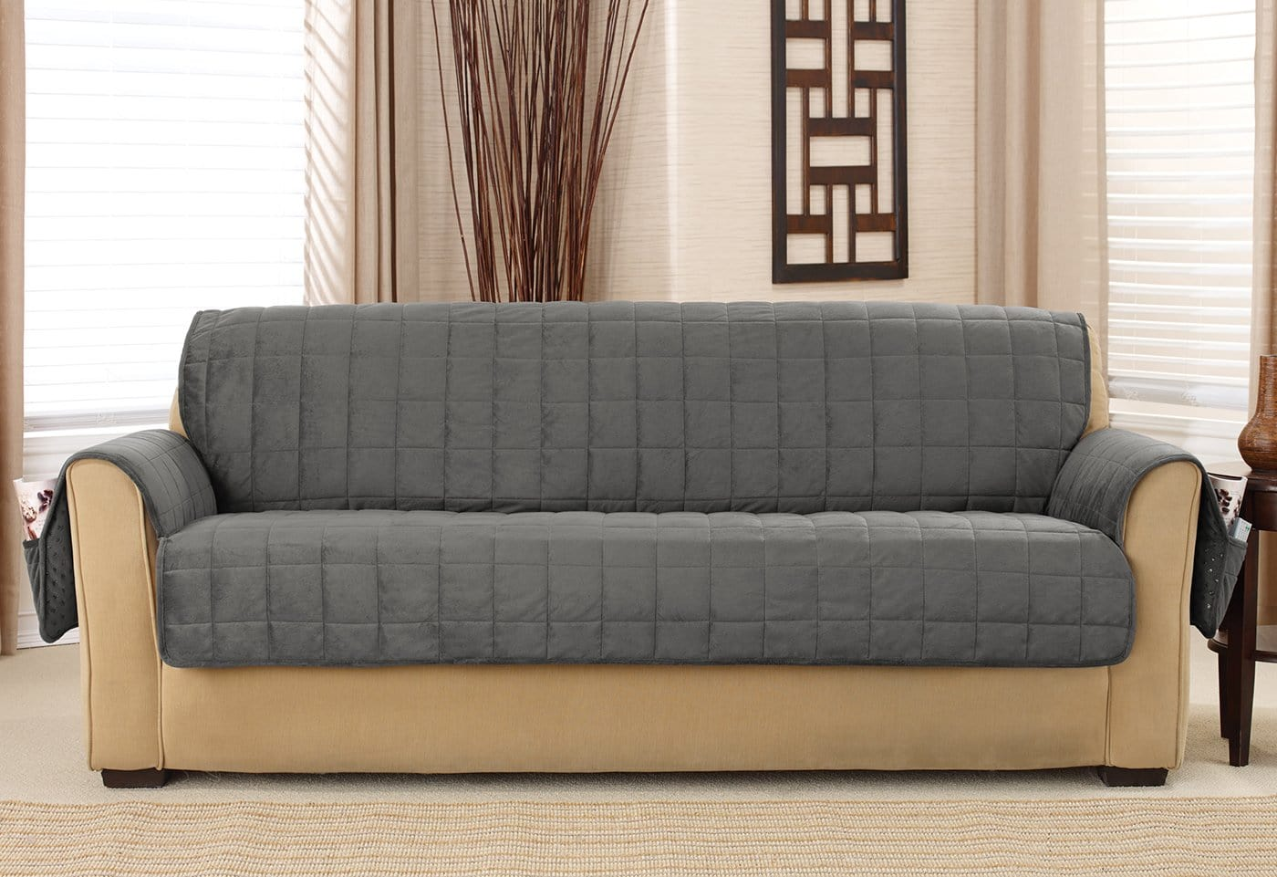 Deep Pile Velvet Sofa Furniture Cover 100% Polyester Pet Furniture Cover Machine Washable - Sofa / Carbon Gray