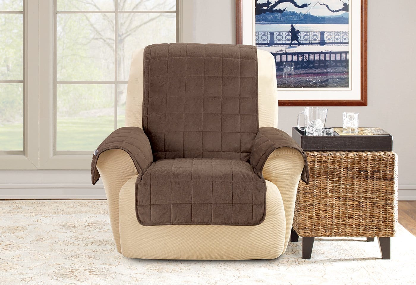 Deep Pile Velvet Recliner Furniture Cover 100% Polyester Pet Furniture Cover Machine Washable - Recliner / Chocolate