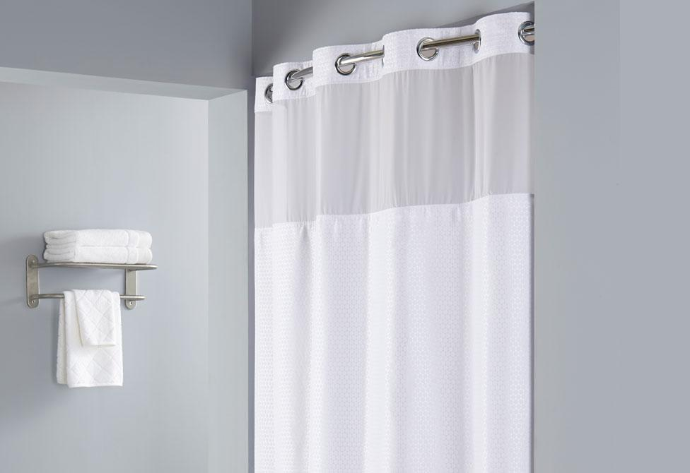 Hookless® Delilah Shower Curtain Includes Snap On/Off Replaceable Liner - White