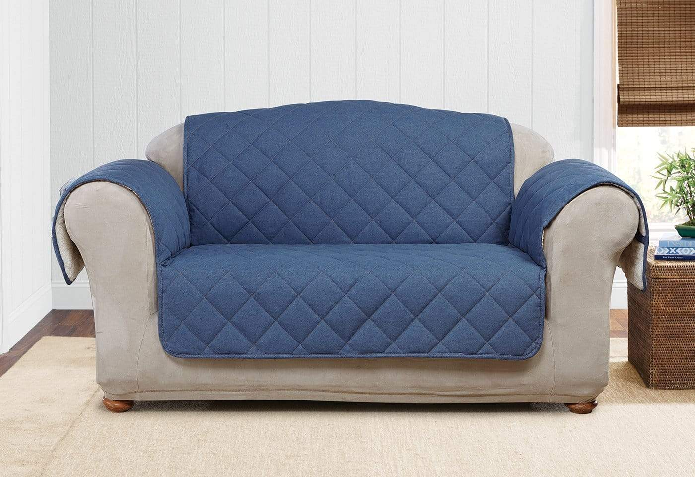 Denim & Sherpa Loveseat Furniture Cover 100% Polyester Pet Furniture Cover Machine Washable - Loveseat / Indigo