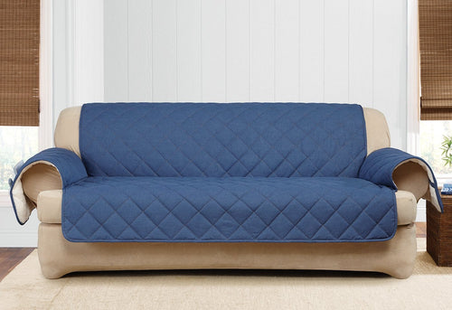 Denim & Sherpa Sofa Furniture Cover