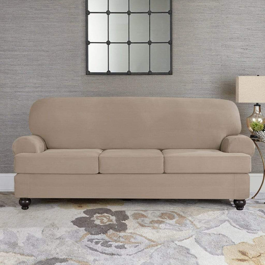Designer Suede Four Piece Sofa Slipcover | Universal Form-Fit Box or  T-Cushion | Machine Washable