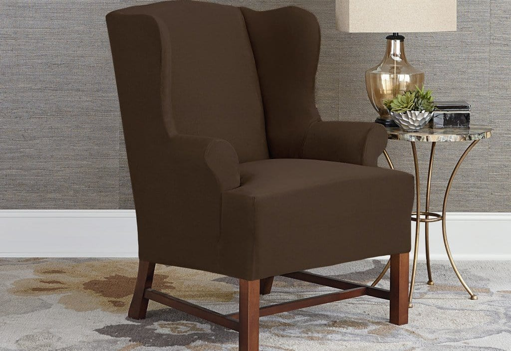 Designer Suede One Piece Wing Chair Slipcover Chocolate