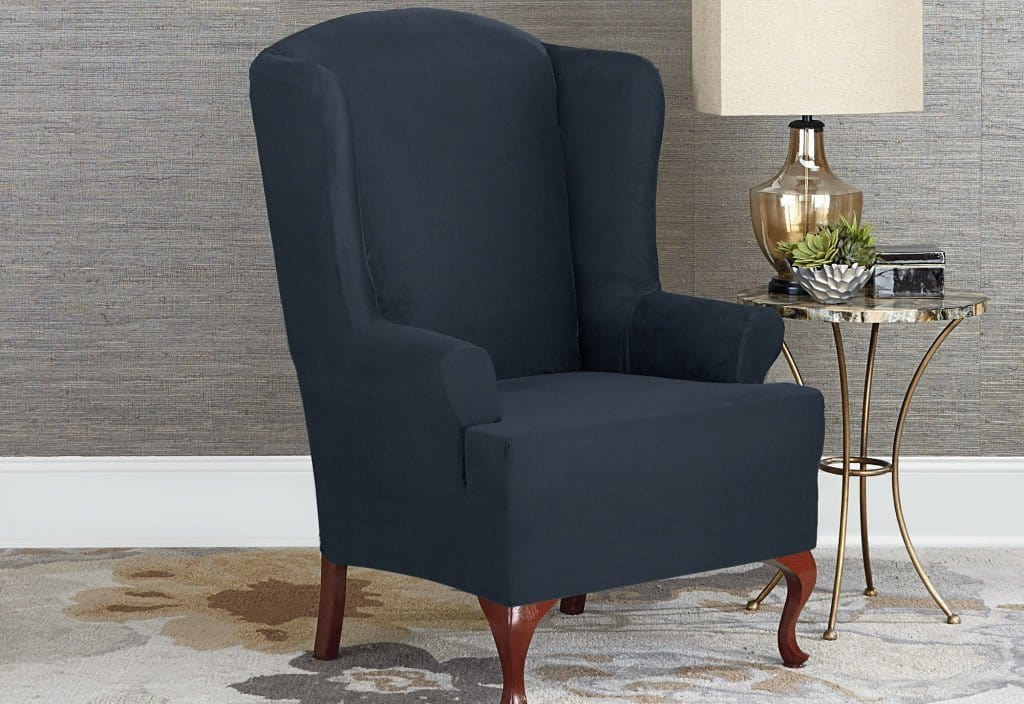 Designer Suede Wing Chair One Piece Slipcover Slipcovers