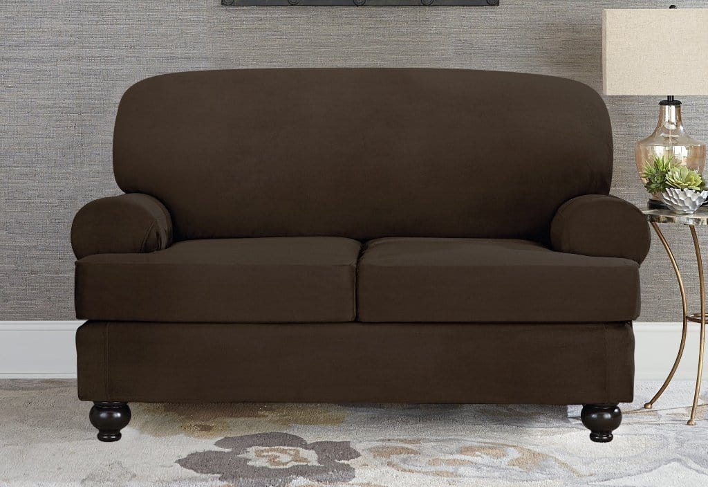 Designer Suede Three Piece Loveseat Slipcover Chocolate