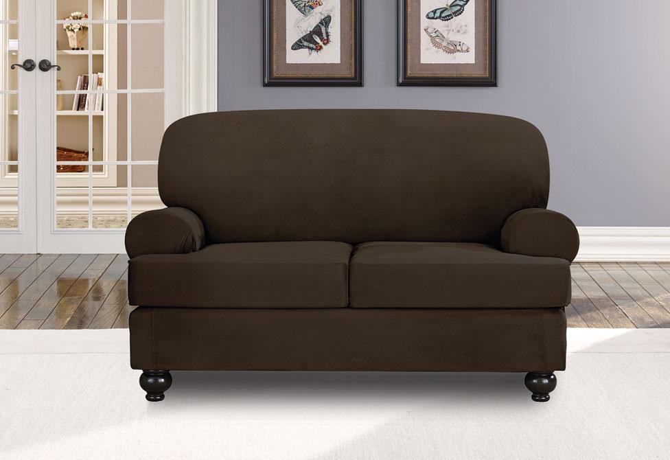 Designer Suede Three Piece Loveseat Slipcover
