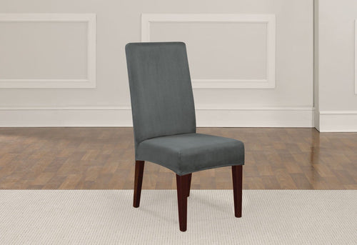 Designer Suede Short Dining Chair Slipcover