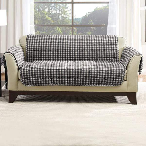 Deluxe Comfort Loveseat Furniture Cover With Arms Microban® Antimicrobial Pet Furniture Cover Machine Washable - Loveseat / Buffalo Plaid/Black