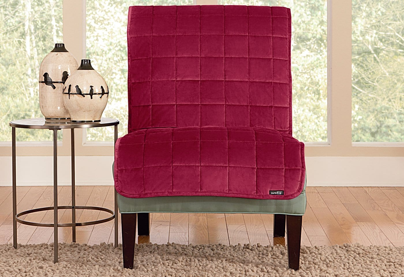 Deluxe Comfort Armless Chair Furniture Cover Microban® Antimicrobial Pet Furniture Cover Machine Washable - Chair / Burgundy