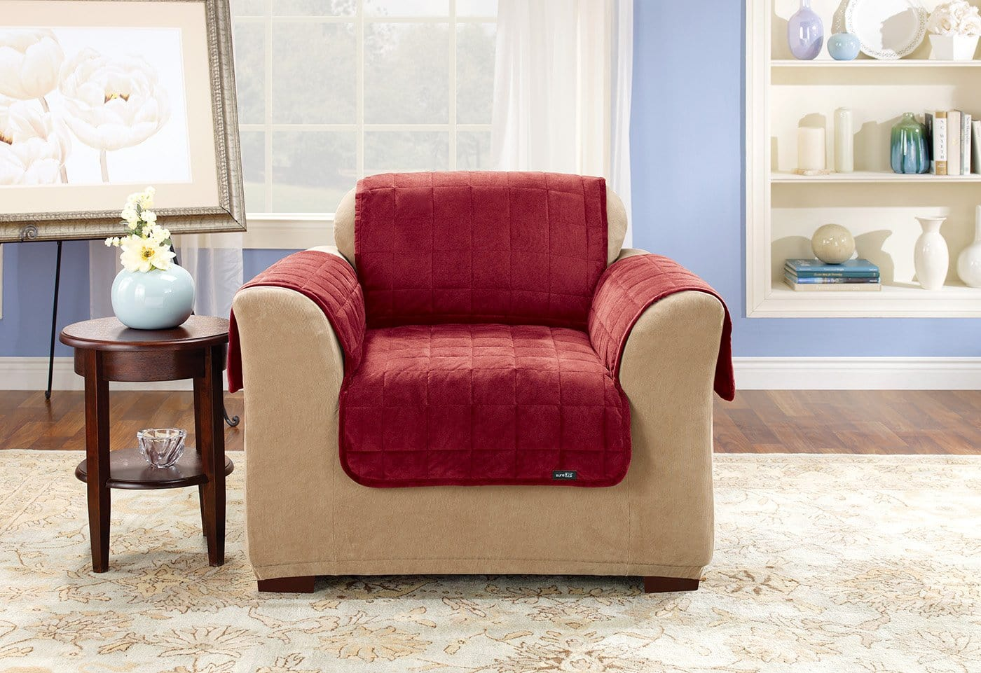 Deluxe Comfort Chair Furniture Cover With Arms Microban® Antimicrobial Pet Furniture Cover Machine Washable - Chair / Burgundy