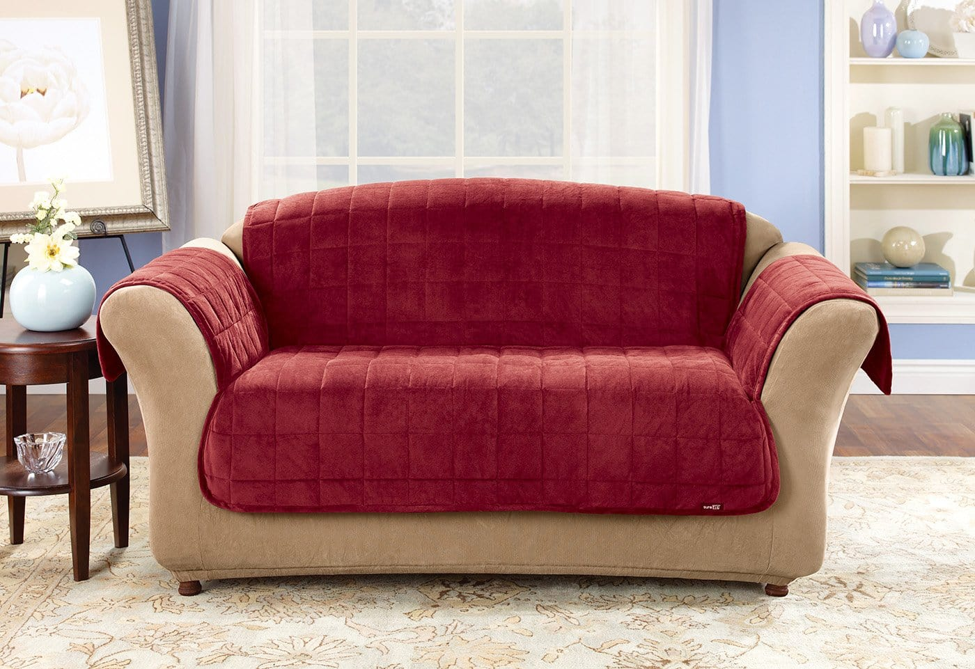 Deluxe Comfort Sofa Furniture Cover With Arms Microban® Antimicrobial Pet Furniture Cover Machine Washable - Sofa / Burgundy