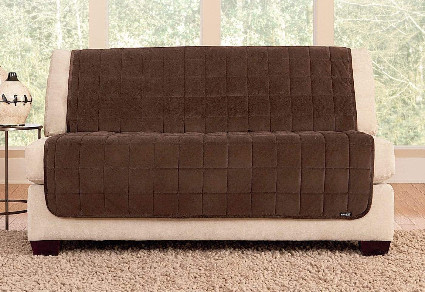 Deluxe Comfort Armless Loveseat Furniture Cover Microban® Antimicrobial Pet Furniture Cover Machine Washable - Loveseat / Chocolate
