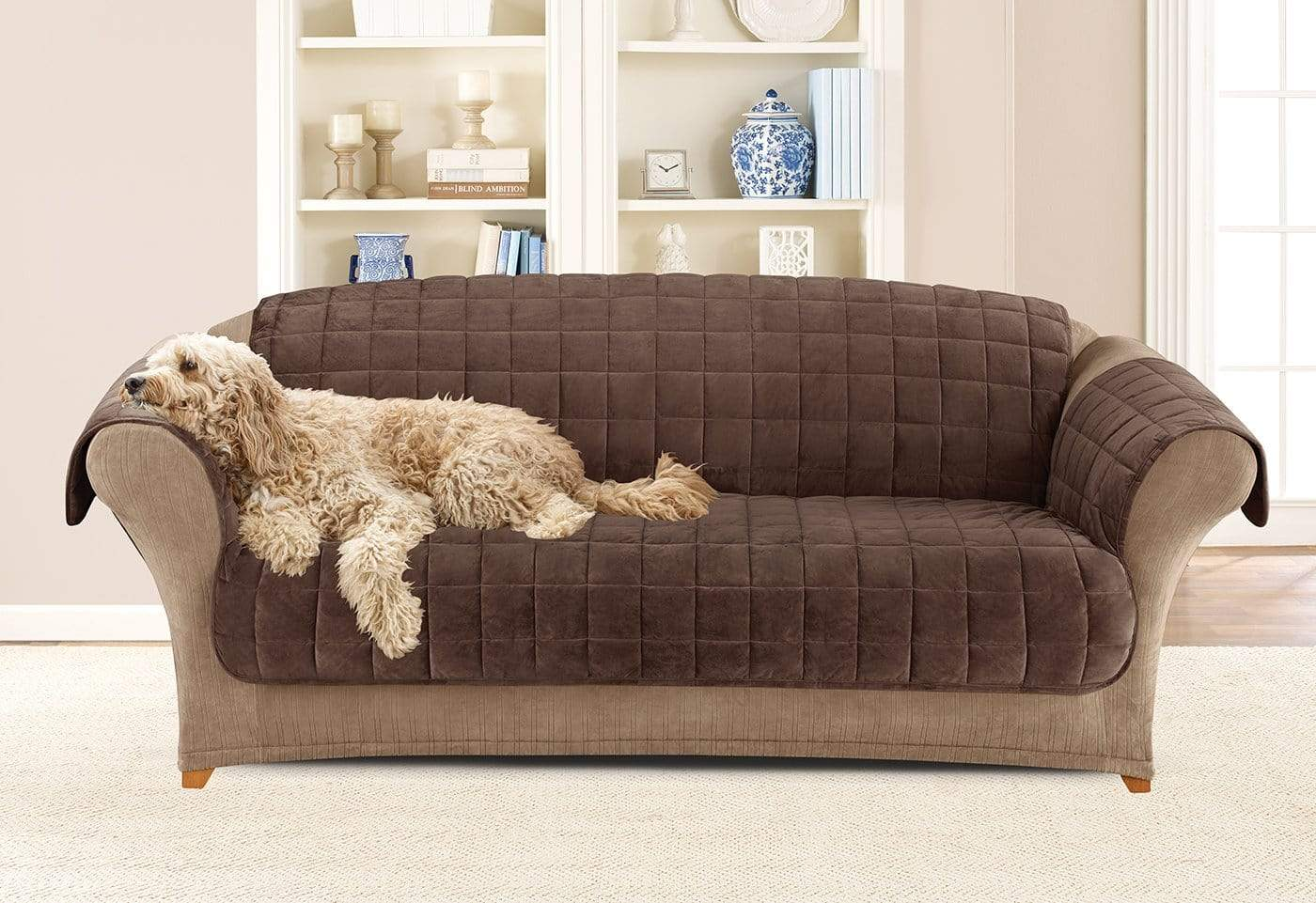 Deluxe Comfort Sofa Furniture Cover With Arms Microban® Antimicrobial Pet Furniture Cover Machine Washable - Sofa / Chocolate