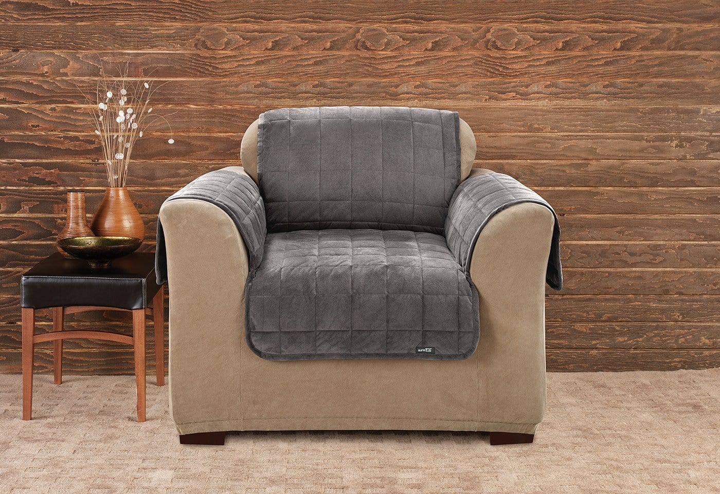 Deluxe Comfort Chair Furniture Cover With Arms Microban® Antimicrobial Pet Furniture Cover Machine Washable - Chair / Dark Gray