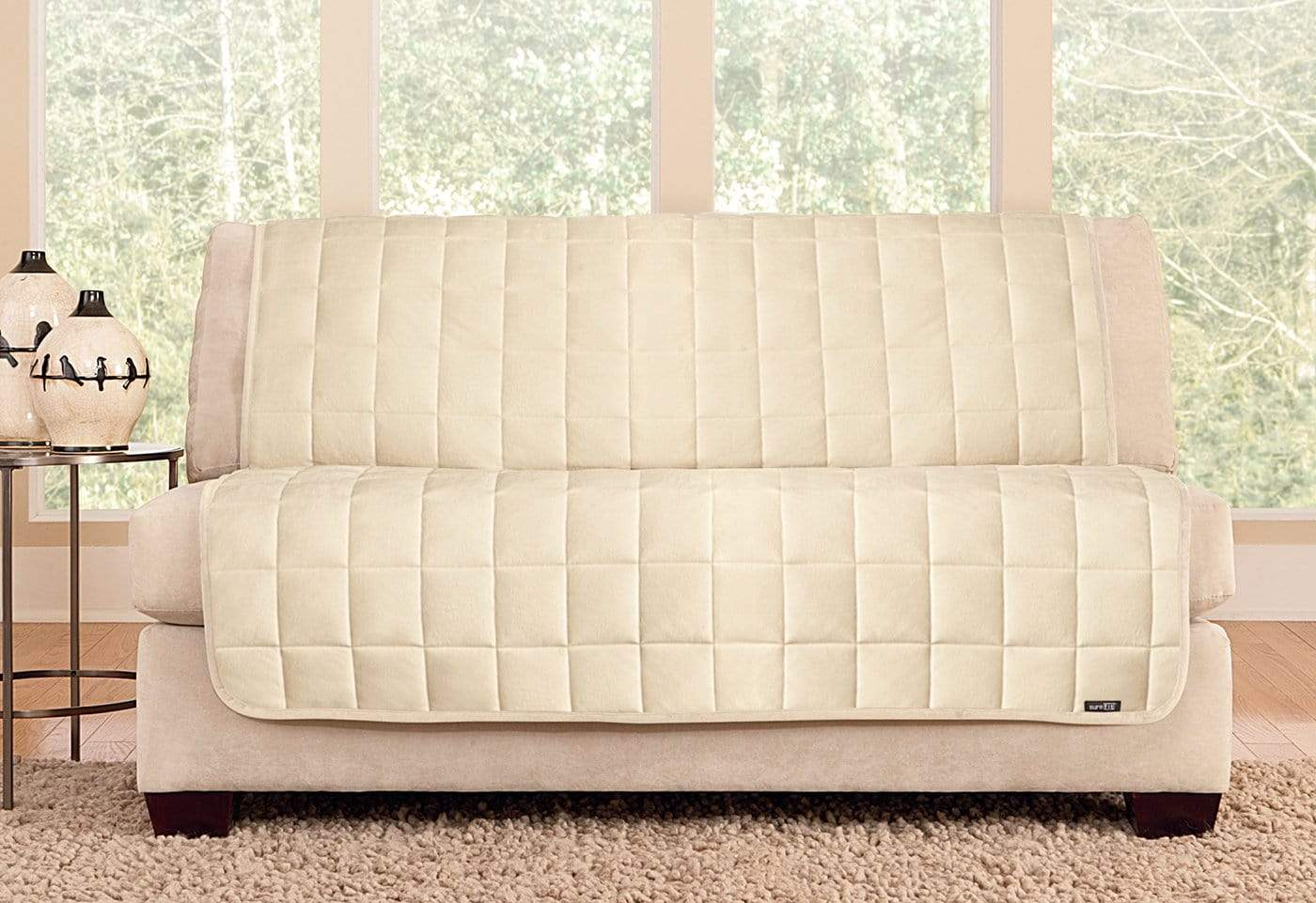Deluxe Comfort Armless Loveseat Furniture Cover Microban® Antimicrobial Pet Furniture Cover Machine Washable - Loveseat / Ivory