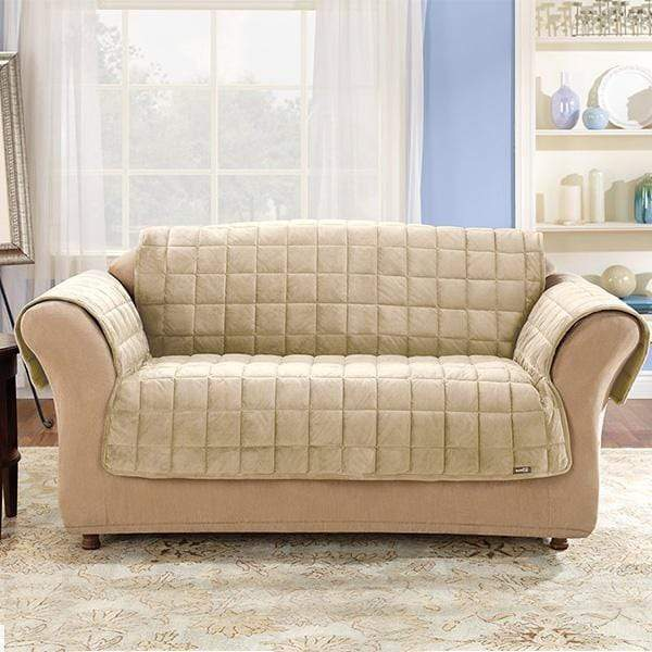Deluxe Comfort Loveseat Furniture Cover With Arms Microban® Antimicrobial Pet Furniture Cover Machine Washable - Loveseat / Ivory