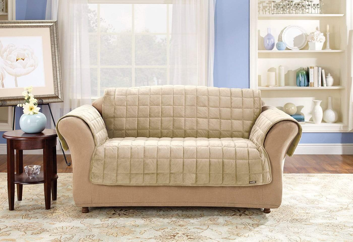 Deluxe Comfort Sofa Furniture Cover With Arms Microban® Antimicrobial Pet Furniture Cover Machine Washable - Sofa / Ivory