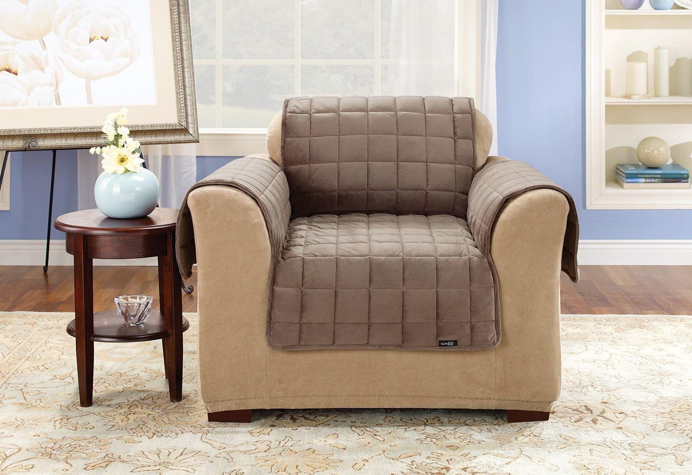 Deluxe Comfort Chair Furniture Cover With Arms Microban® Antimicrobial Pet Furniture Cover Machine Washable - Chair / Sable