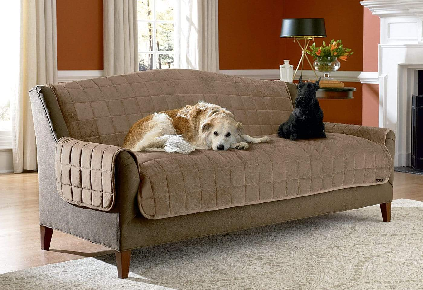 Deluxe Comfort Sofa Furniture Cover With Arms Microban® Antimicrobial Pet Furniture Cover Machine Washable - Sofa / Sable