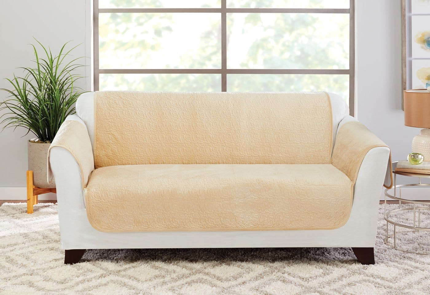 Elegant Vermicelli Loveseat Furniture Cover 100% Polyester Pet Furniture Cover Machine Washable - Loveseat / Champagne
