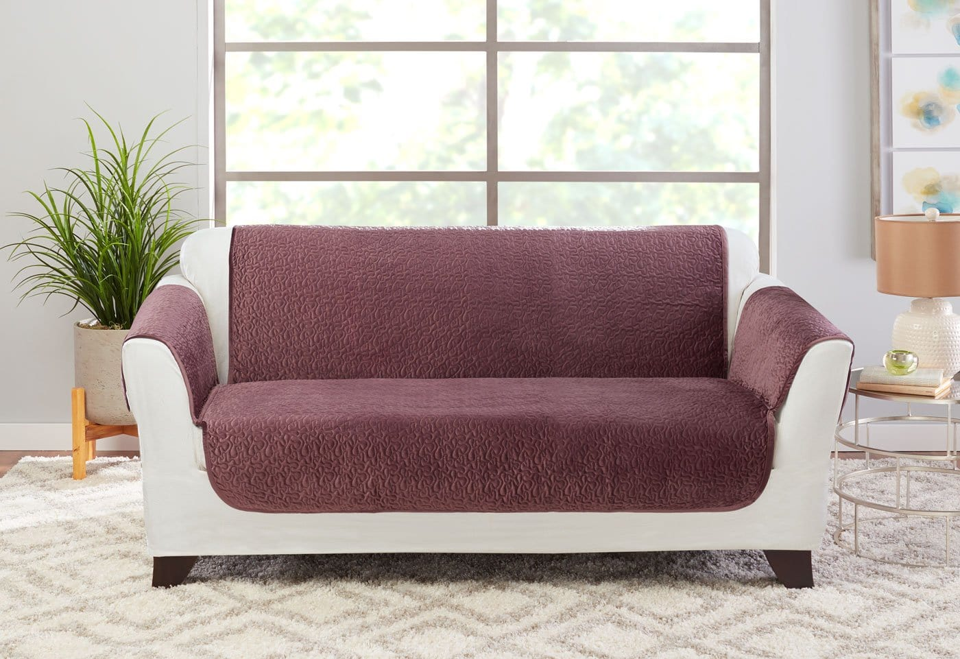 Elegant Vermicelli Loveseat Furniture Cover 100% Polyester Pet Furniture Cover Machine Washable - Loveseat / Mulberry