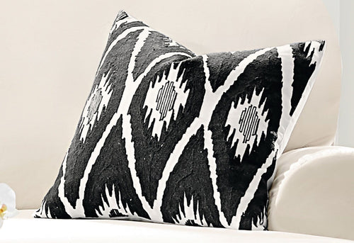 Embroidered Ikat Diamond 20 Inch Decorative Pillow