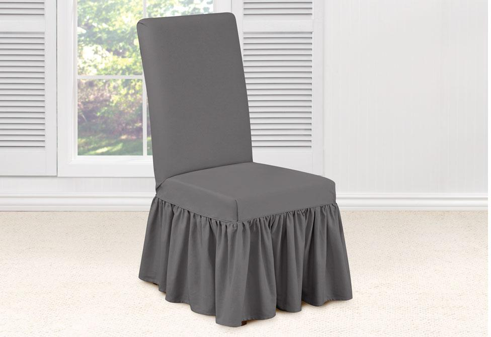 Essential Twill Long Dining Chair Slipcover