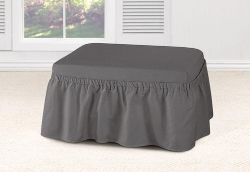 Essential Twill Two Piece Ottoman Slipcover