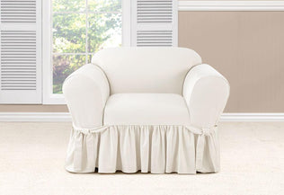 Essential Twill Long Dining Chair Slipcover With