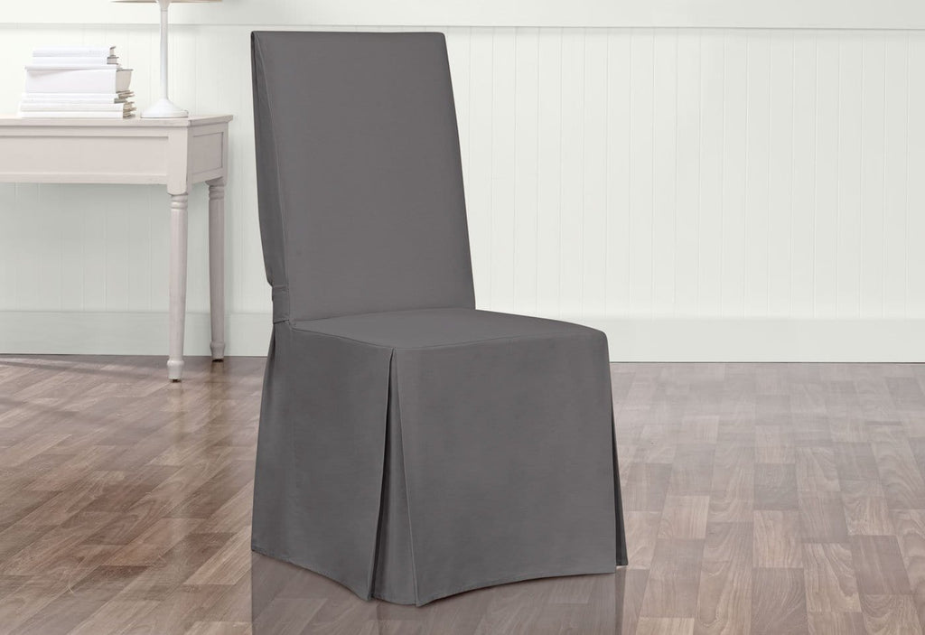 Essential Twill Long Dining Chair Slipcovers With