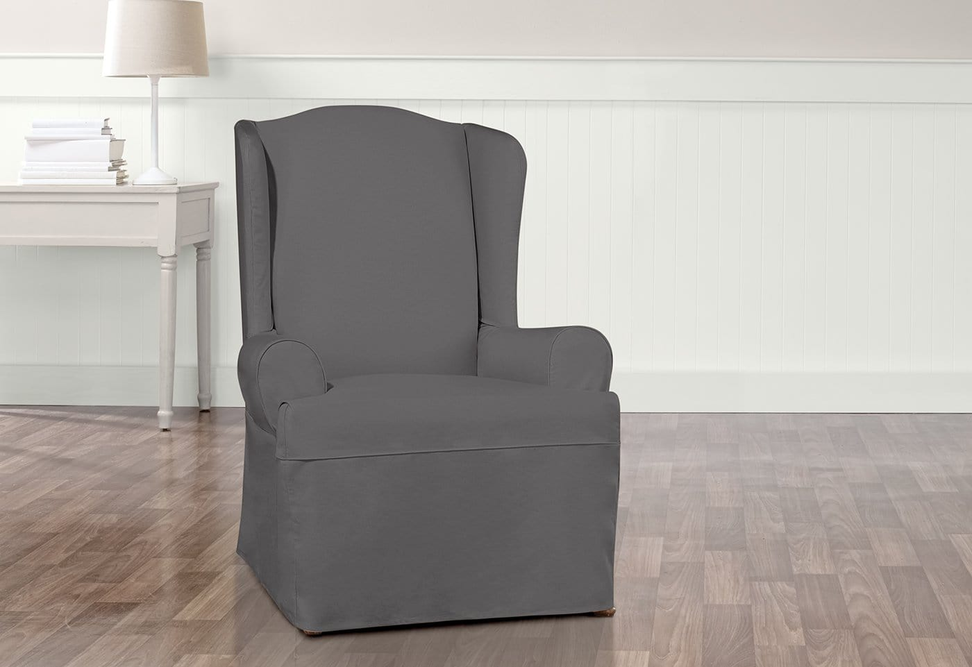 Essential Twill Wing Chair Slipcovers With Scotchgard U2013 SureFit