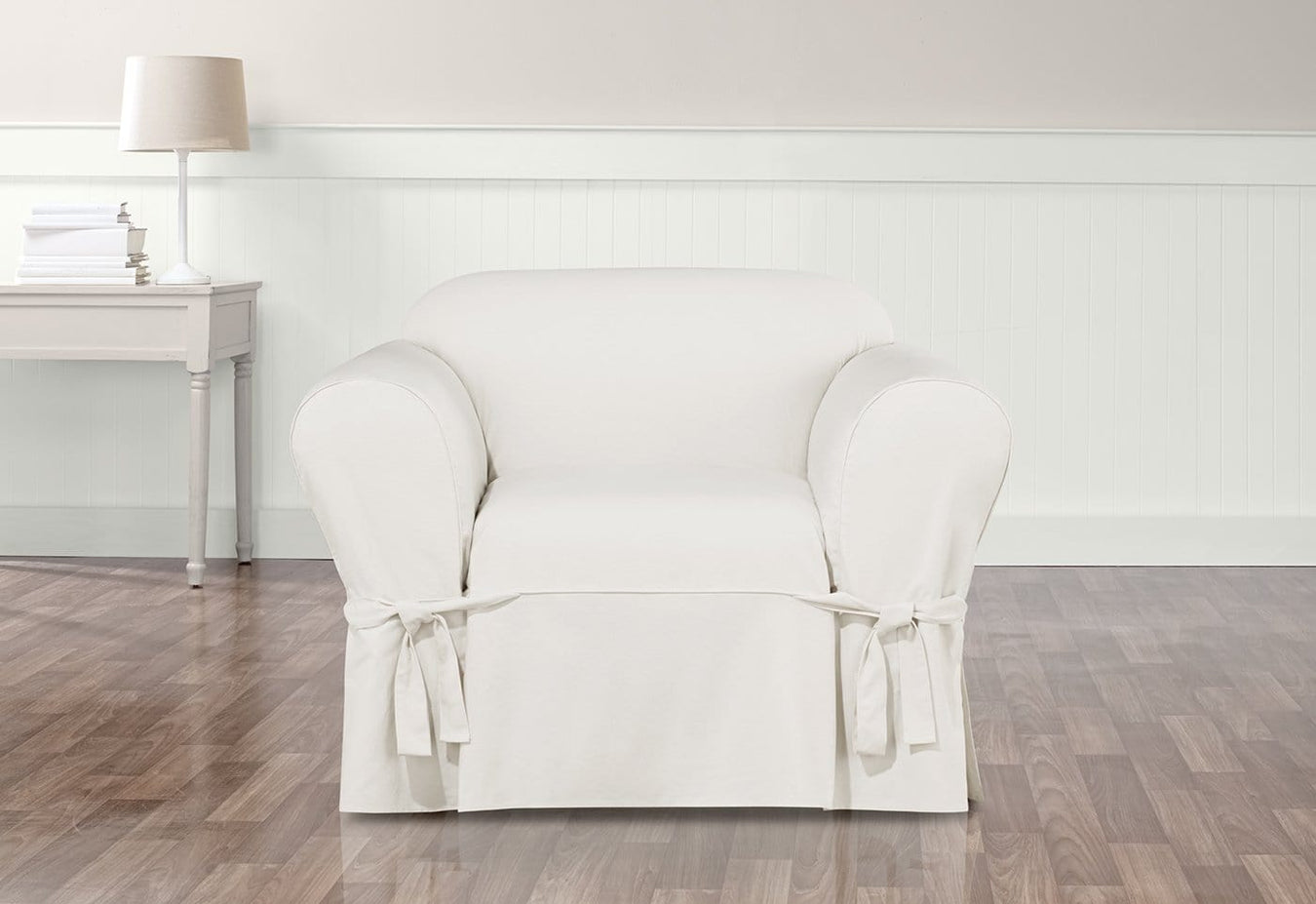 Essential Twill Straight Skirt One Piece Chair Slipcover