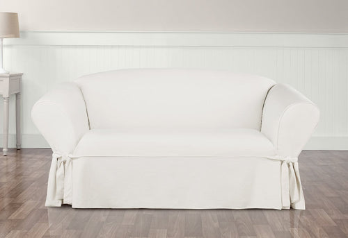 Essential Twill Straight Skirt One Piece Loveseat Slipcover
