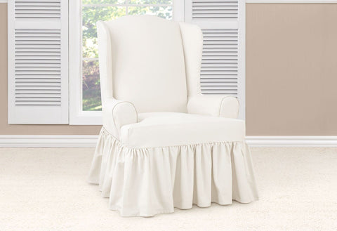 Essential Twill Ruffled Wing Chair Slipcover With Scotchgard