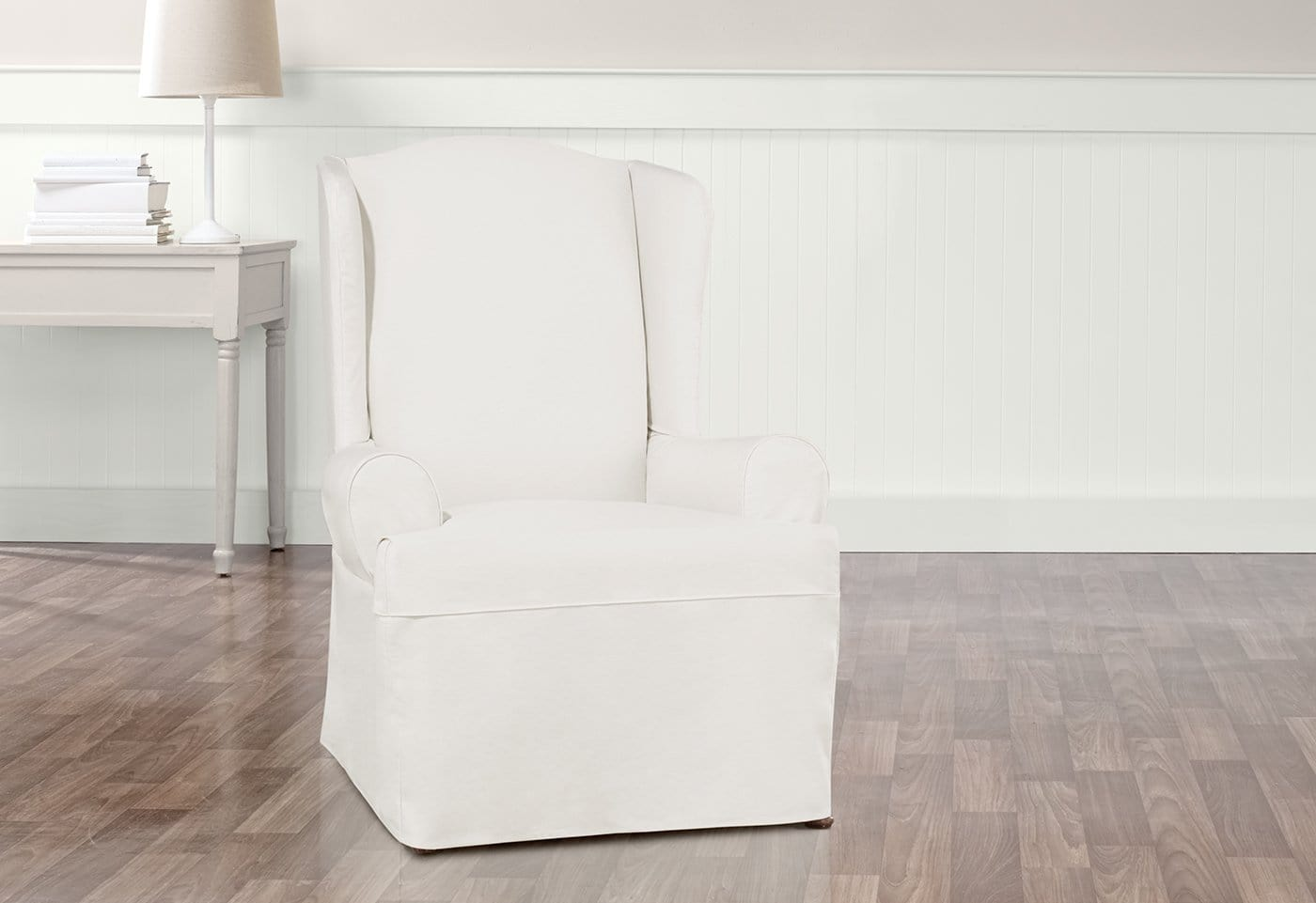 essential twill one piece wing chair slipcover - Wing Chair Slipcover