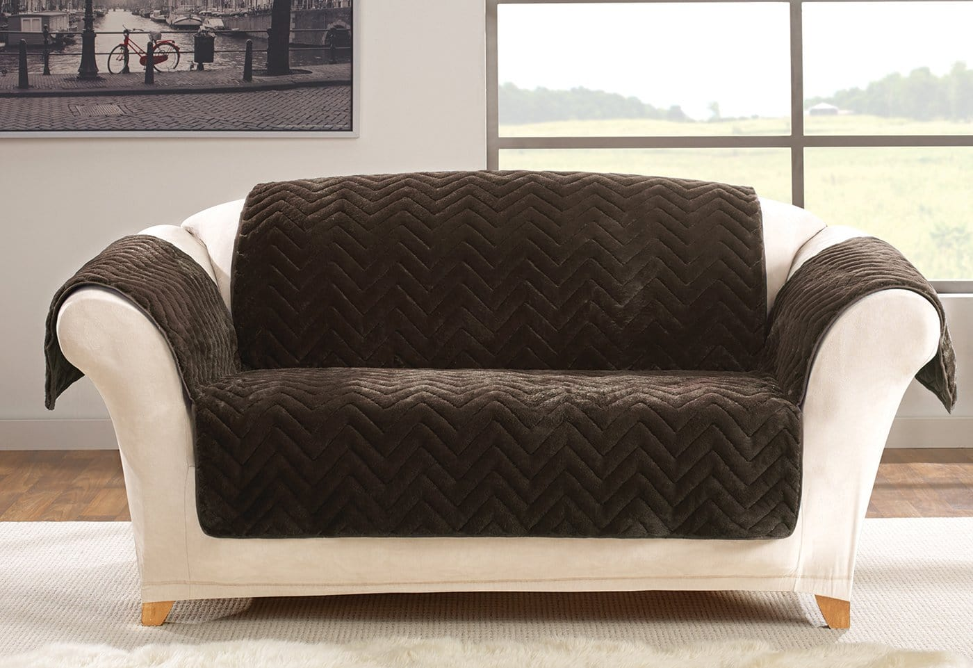 Faux Fur Chevron Loveseat Furniture Cover 100% Polyester Pet Furniture Cover Machine Washable - Loveseat / Chocolate