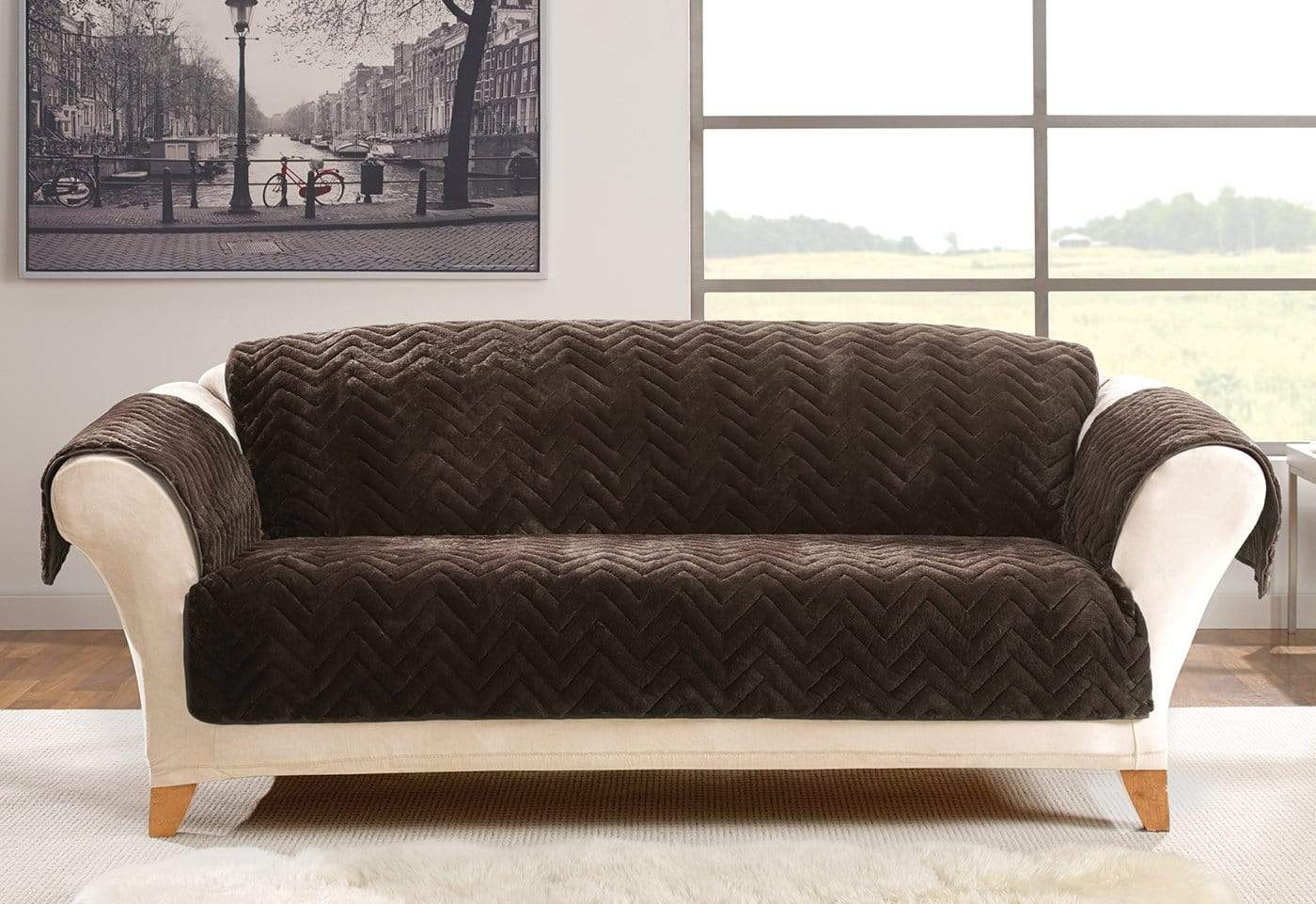Faux Fur Chevron Sofa Furniture Cover 100% Polyester Pet Furniture Cover Machine Washable - Sofa / Chocolate