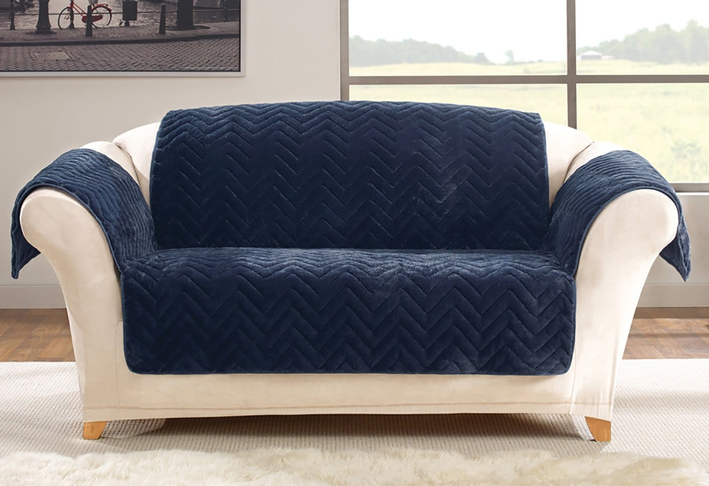 Faux Fur Chevron Loveseat Furniture Cover 100% Polyester Pet Furniture Cover Machine Washable - Loveseat / Navy