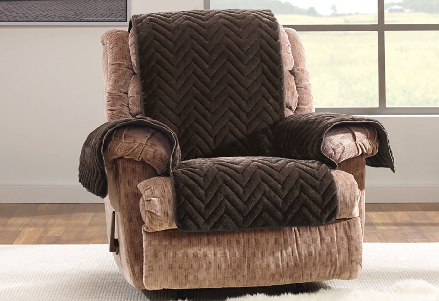 Faux Fur Chevron Recliner Furniture Cover 100% Polyester Pet Furniture Cover Machine Washable - Recliner / Chocolate
