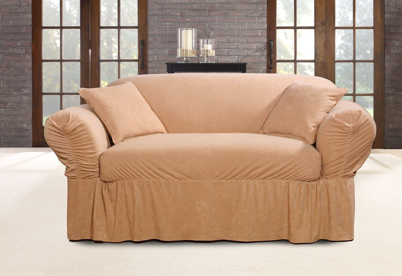Faux Suede One Piece Loveseat Slipcover