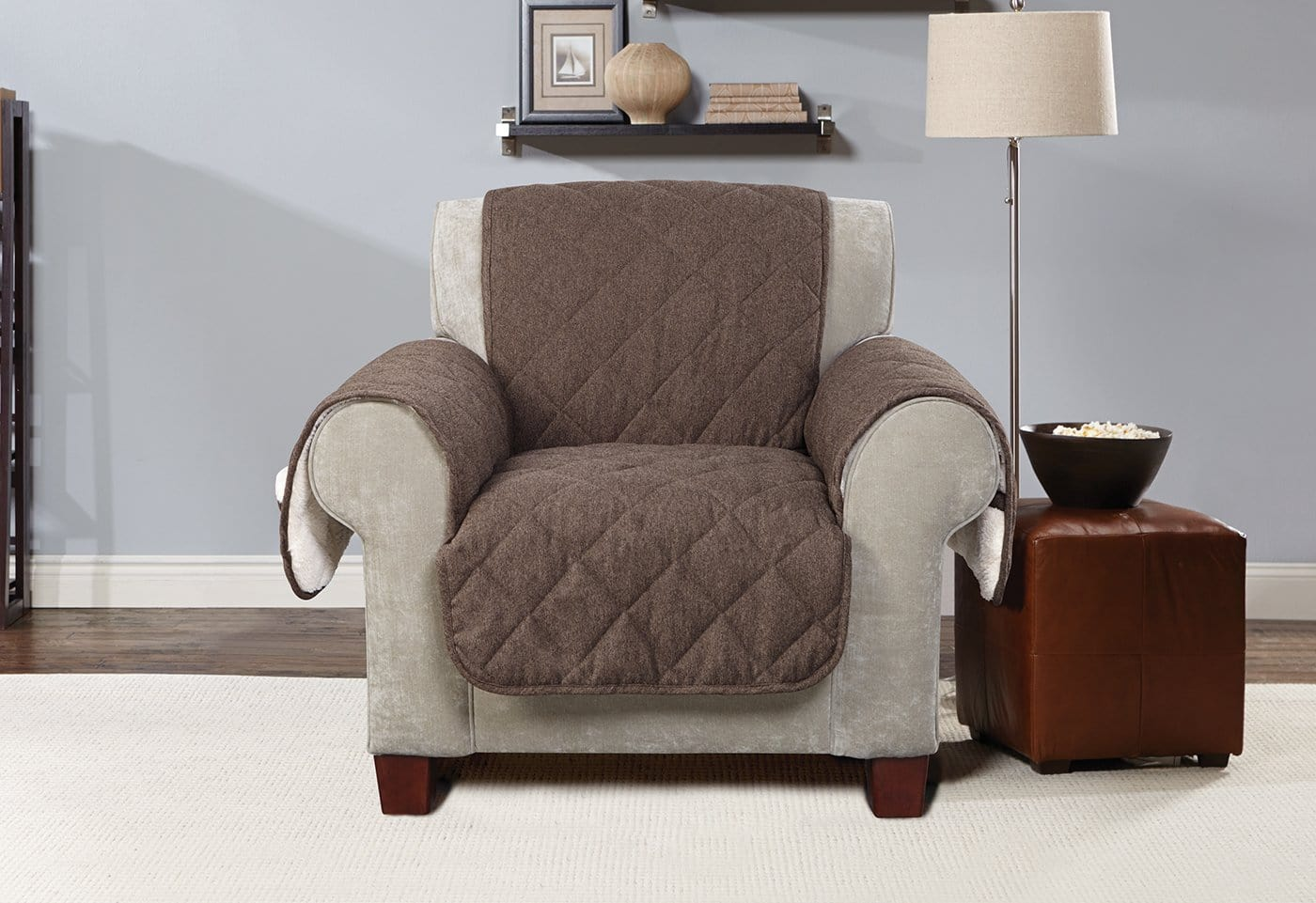 Flannel & Sherpa Chair Furniture Cover 100% Polyester Pet Furniture Cover Machine Washable - Chair / Chocolate