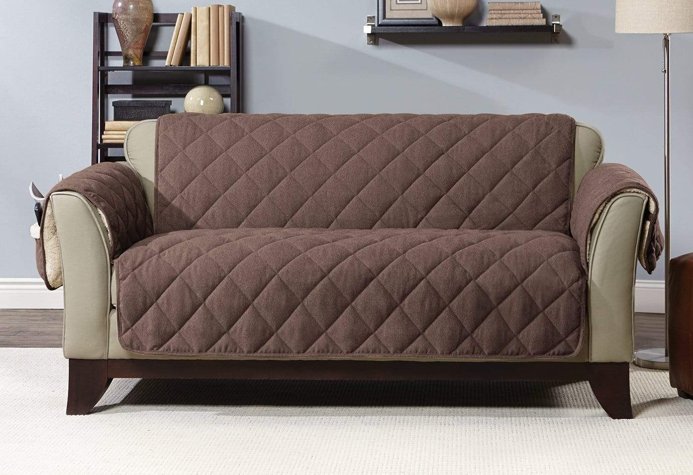 Flannel & Sherpa Loveseat Furniture Cover 100% Polyester Pet Furniture Cover Machine Washable - Loveseat / Chocolate