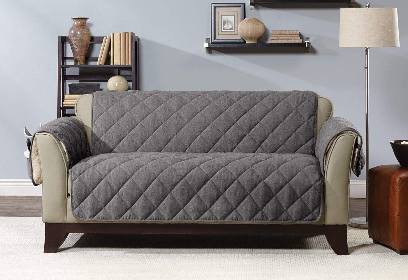 Flannel & Sherpa Loveseat Furniture Cover 100% Polyester Pet Furniture Cover Machine Washable - Loveseat / Gray