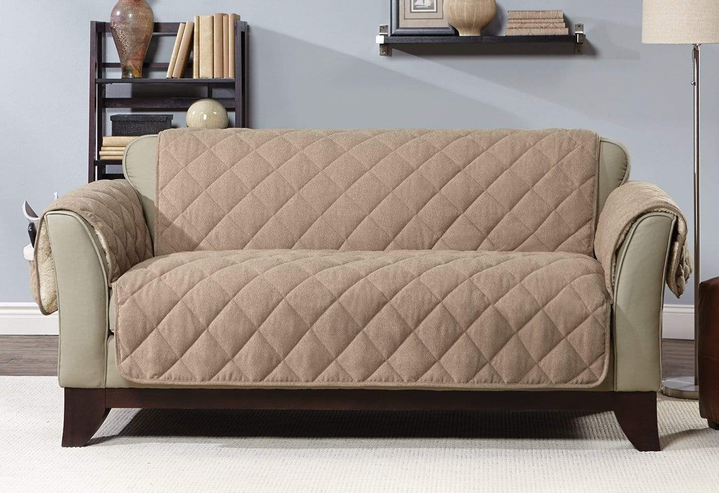 Flannel & Sherpa Loveseat Furniture Cover 100% Polyester Pet Furniture Cover Machine Washable - Loveseat / Walnut