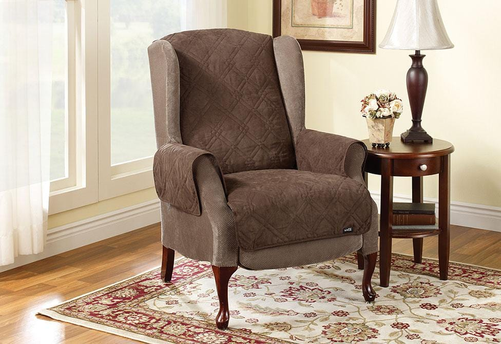 Quilted Wing Chair/Recliner Pet Throw Furniture Cover - Wing Recliner / Chocolate