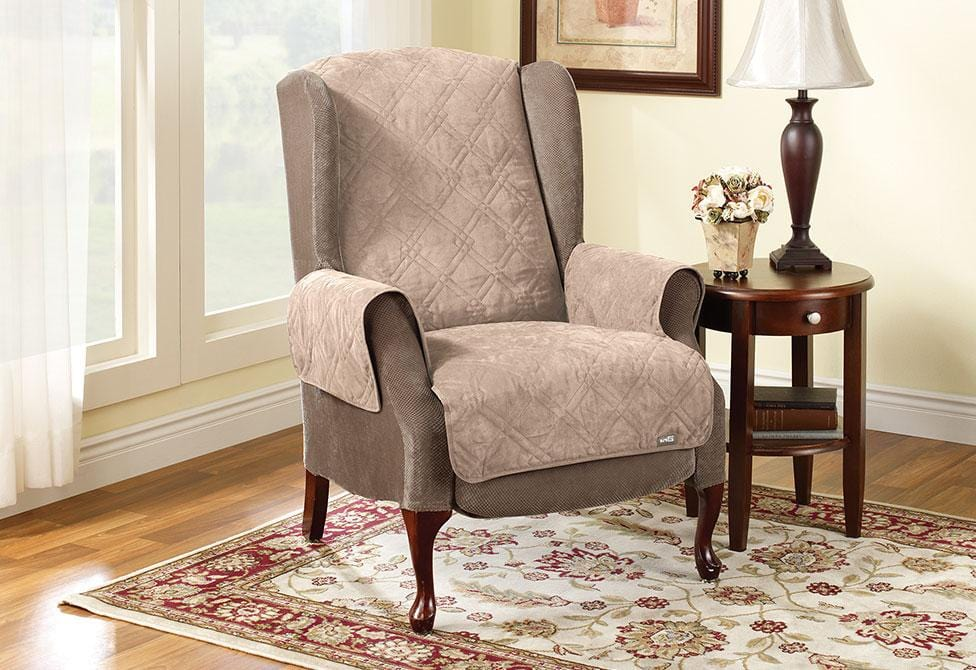 Quilted Wing Chair/Recliner Pet Throw Furniture Cover - Wing Recliner / Taupe