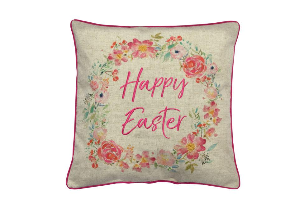 Happy Easter Wreath  18 Square 18 Inch Decorative Pillow