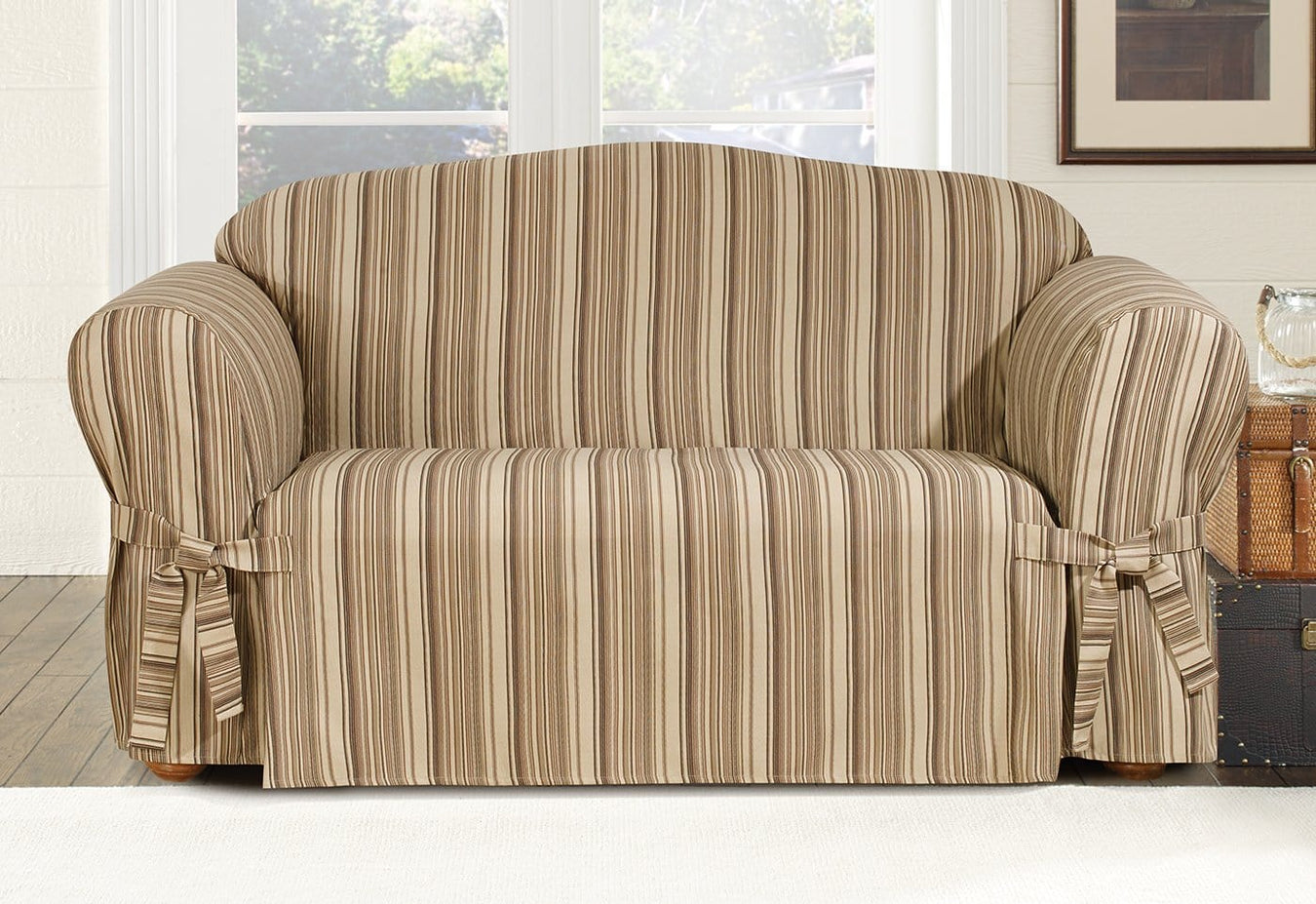 Harbor Stripe One Piece Loveseat Slipcover