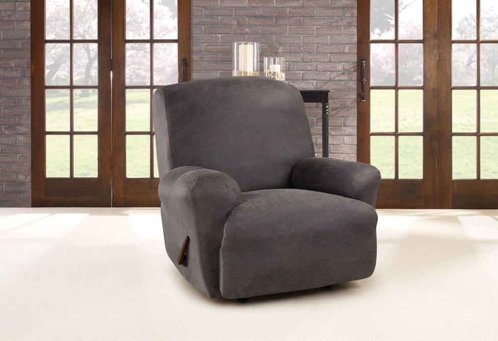 Ultimate Stretch Leather One Piece Recliner Slipcover Form Fit Machine Washable - Recliner / Antiqued Slate